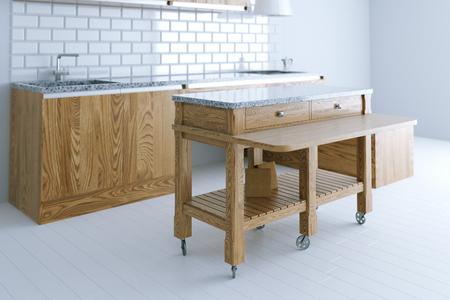 muebles de madera: idea perfecta para el diseño interior de la cocina con muebles de madera. Vista de perspectiva. 3d
