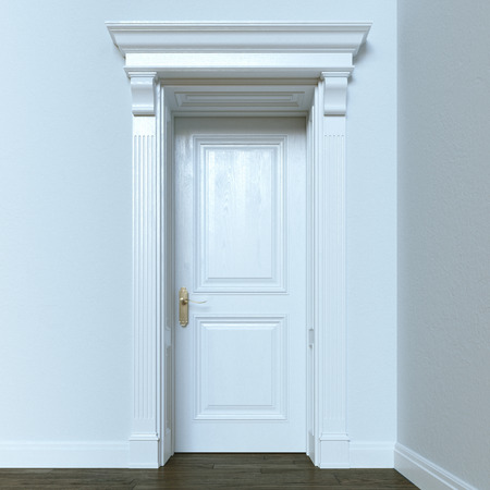 uncarpeted: White classic wooden interior door. 3d render