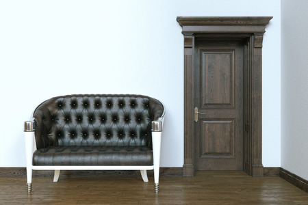 uncarpeted: Classic leather sofa in modern interior with wooden door. 3d render