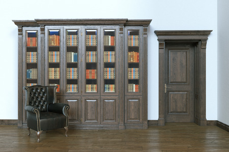 Luxury wooden interior library with leather armchair. 3d render. Imagens