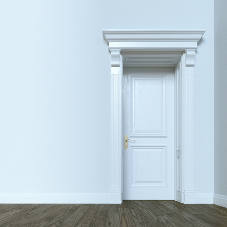 White classic door in elegant interior with hardwood flooring. 3d render