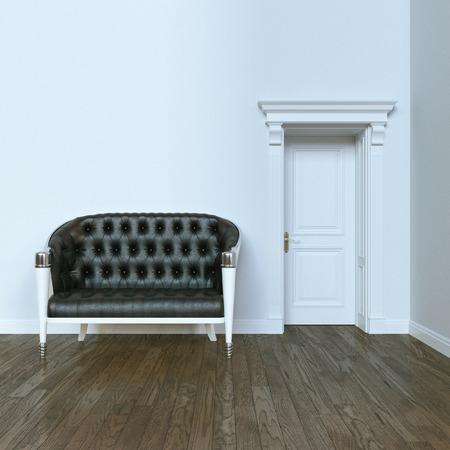 wood room: Classic elegant leather sofa in modern interior with wooden door. 3d render. Stock Photo