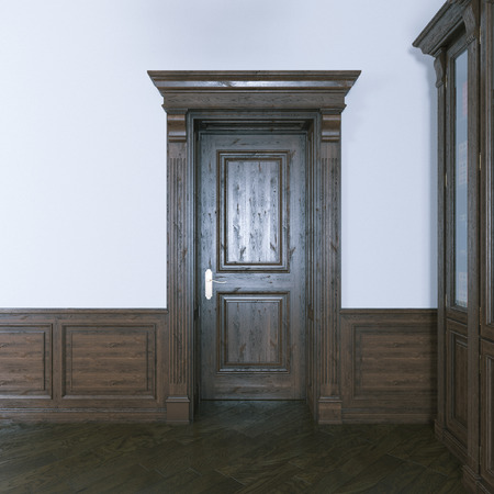 wood room: Luxurious classic wooden interior door. 3d render. Stock Photo