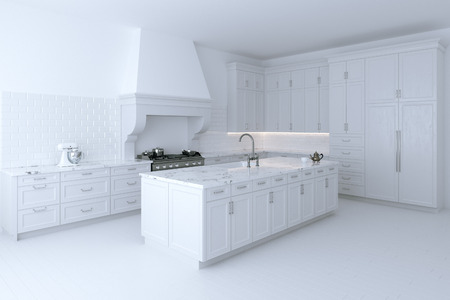 white kitchen: Luxurious white kitchen cabinet with cooking island. Perspective version. 3d render. Stock Photo