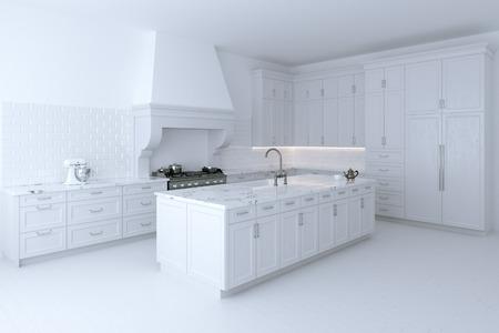 Luxuus gabinete de cocina blanco con isla de cocina. Versión perspectiva. 3d. Foto de archivo - 60898400