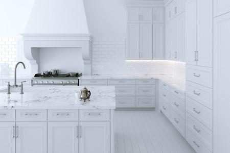 white kitchen: Luxurious white kitchen cabinet with cooking island. 3d render