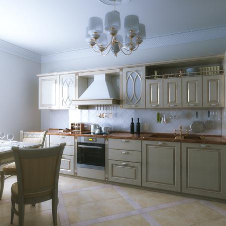 classic interior: Domestic classic wooden beige kitchen interior design. 3d render