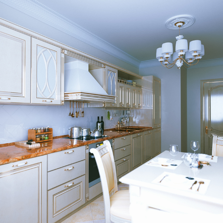 dining area: Modern kitchen interior design with dining area. 3d render
