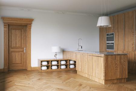 3d render: Wooden luxury kitchen cabinet. 3d render
