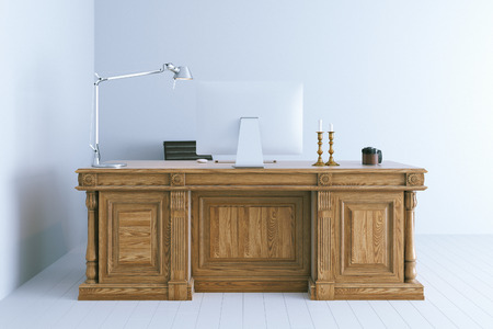 classic interior: Modern office interior with classic wooden table. 3d render