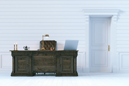 office cabinet: Luxury office cabinet in classic wooden interior. 3d render.