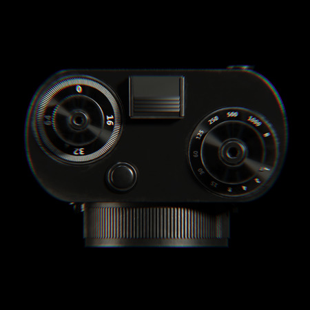 entertainment equipment: Aberration stylization retro film photo camera 3d render