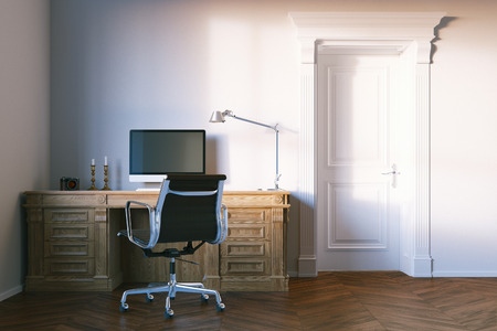 office cabinet: Classic elegant office cabinet with closed wooden door. 3d render.
