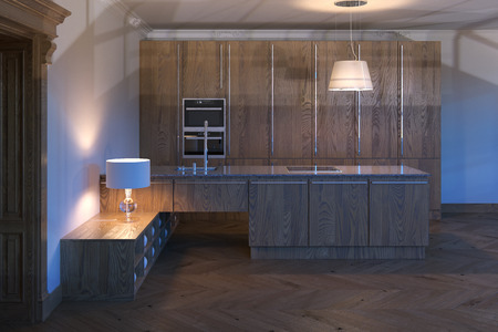 render residence: Luxury wooden kitchen cabinet. 3d render.