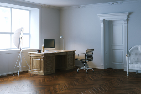 office cabinet: Elegance interior office cabinet with wooden door. 3d render.