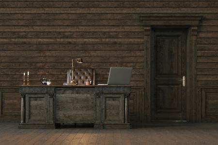 Elegante ufficio interno in legno con porta chiusa. Rendering 3D