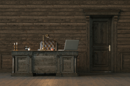 old furniture: Stylish wooden interior office with closed door. 3d render. Stock Photo