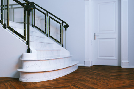 new classic: New classic interior with closed door and marble staircase. 3d render.