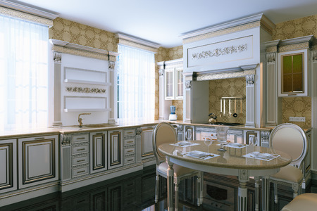 dining area: Luxury vintage kitchen interior with dining area. 3d render.