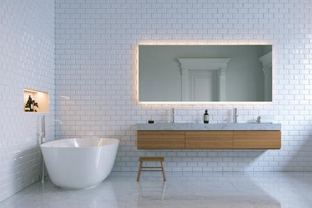 Luxe salle de bains intérieure avec murs de briques. 3d render.