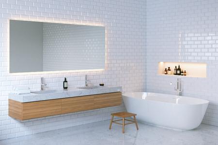 render residence: Minimalist elegance bathroom interior. 3d render.