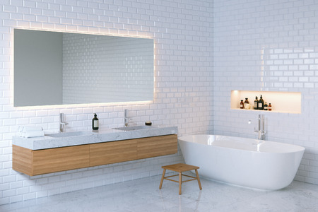 ceramica: Minimalista entre elegancia baño. 3d. Foto de archivo
