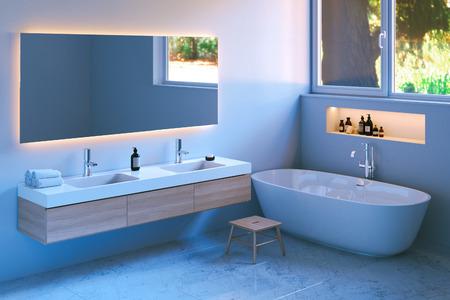 Modern bathroom interior with marble floor. 3d render.