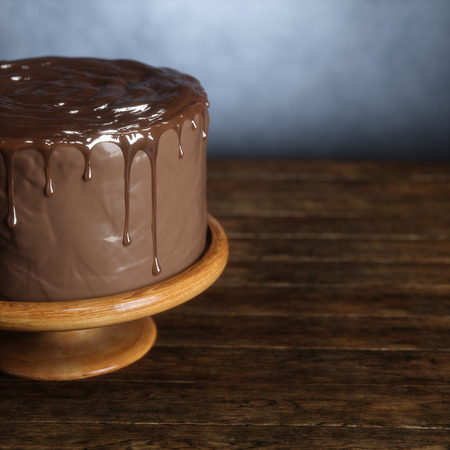 Delicious chocolate cake on the wooden surface. 3d render