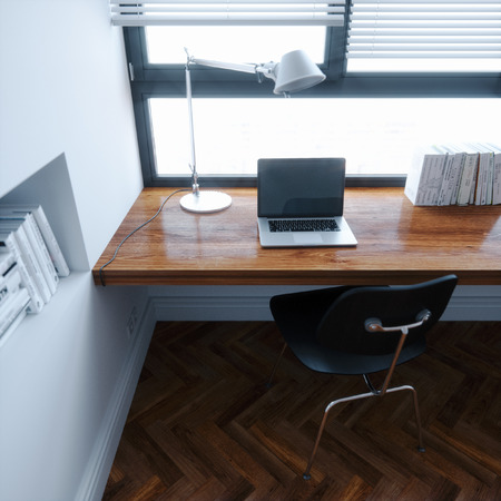 working place: Workplace in new white interior minimalistic style design 3d render