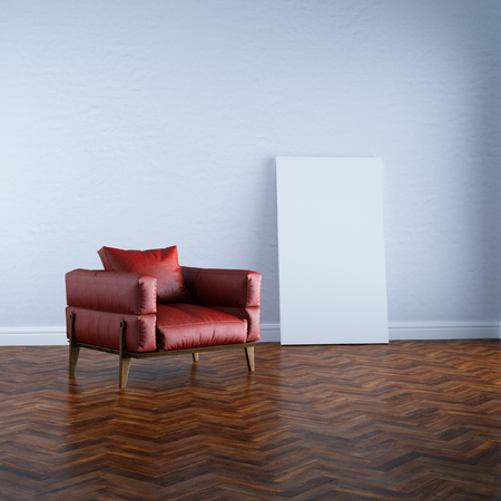 office furniture: 3d render red armchair in white interior mock up perspective view Stock Photo