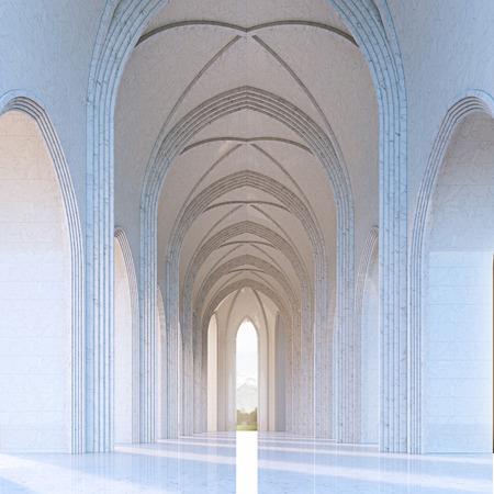 Sunlight in classic gothic architecture interior 3d render