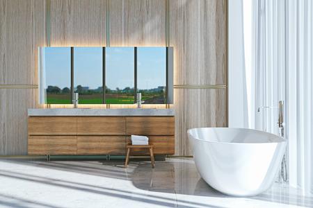 Baño de diseño con piso de mármol y tina blanca render 3d. Foto de archivo - 90216062