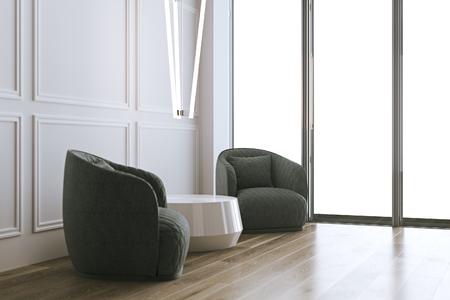 Sala de estar interior blanca 3d render Foto de archivo - 90370889