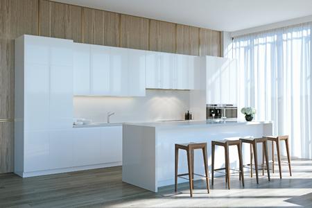 Cocina contemporánea blanca en madera interior 3d render Foto de archivo - 90370893