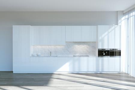 Gabinetes de cocina contemporáneos blancos en la habitación con grandes ventanas render 3d Foto de archivo - 90216065