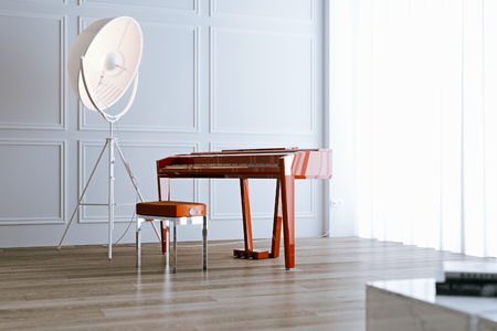 El electro piano rojo con la lámpara de pie en piso de madera en el interior blanco 3d rinde Foto de archivo - 90216067