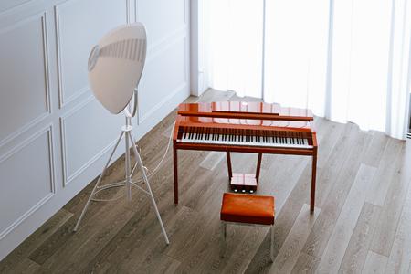 Piano rojo escandinavo con lámpara de suelo en el piso de madera en el interior blanco 3d Foto de archivo - 90093624