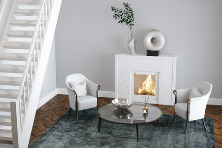 White living room with fireplace and stairs 3d render Foto de archivo - 99229504