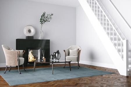Black Fireplace in white living room 3d render Foto de archivo - 99229505