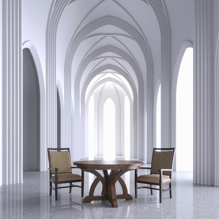 Gothic white interior church with wooden furniture 3D render Foto de archivo - 99842710