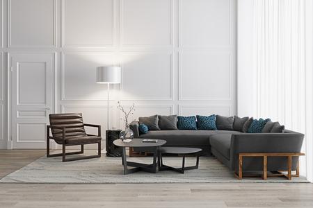 White living room in scandinavian style with modern furniture and wood floor 3d render Foto de archivo - 99397913