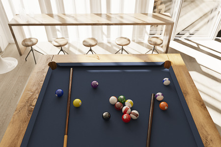 Pool table in minimalistic interior with sunset rays 3D render Foto de archivo - 99391212