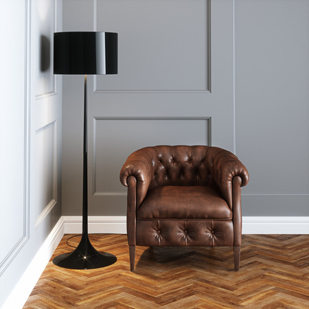 Vintage leather armchair and floor lamp in classic interior 3D render Foto de archivo - 103235170