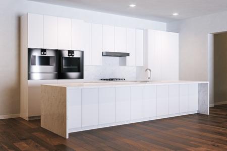 Minimalistic white kitchen in new room 3D render Foto de archivo - 103235173