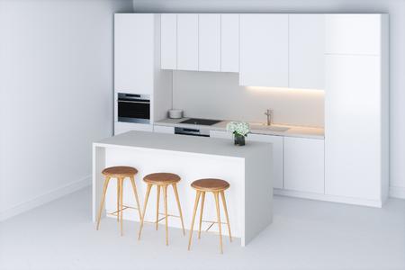 White minimalist kitchen in new room 3D render Foto de archivo - 99862578
