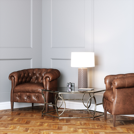 Vintage leather armchairs and glass table with lamp in classic interior 3D render Foto de archivo - 99854292