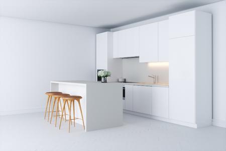 Cocina contemporánea contemporánea en el interior blanco 3d Foto de archivo - 100052238