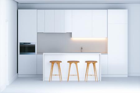 Cocina contemporánea contemporánea en el interior blanco 3d Foto de archivo - 100043352