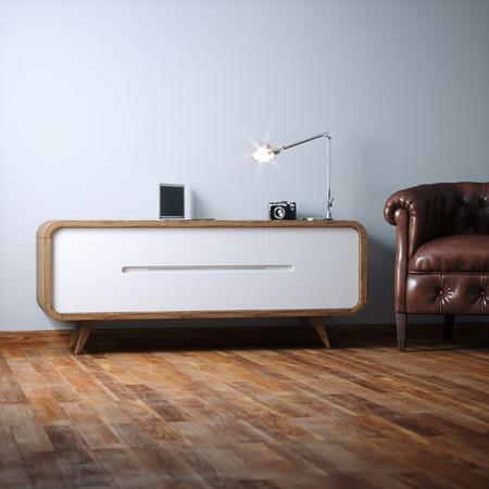 Vintage night stand wooden furniture in white interior 3D render Foto de archivo - 114448596