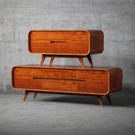 Vintage wooden furniture 3D render Foto de archivo - 114448597